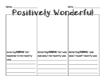 Self Esteem Positive Thinking Worksheets Brandy S Board