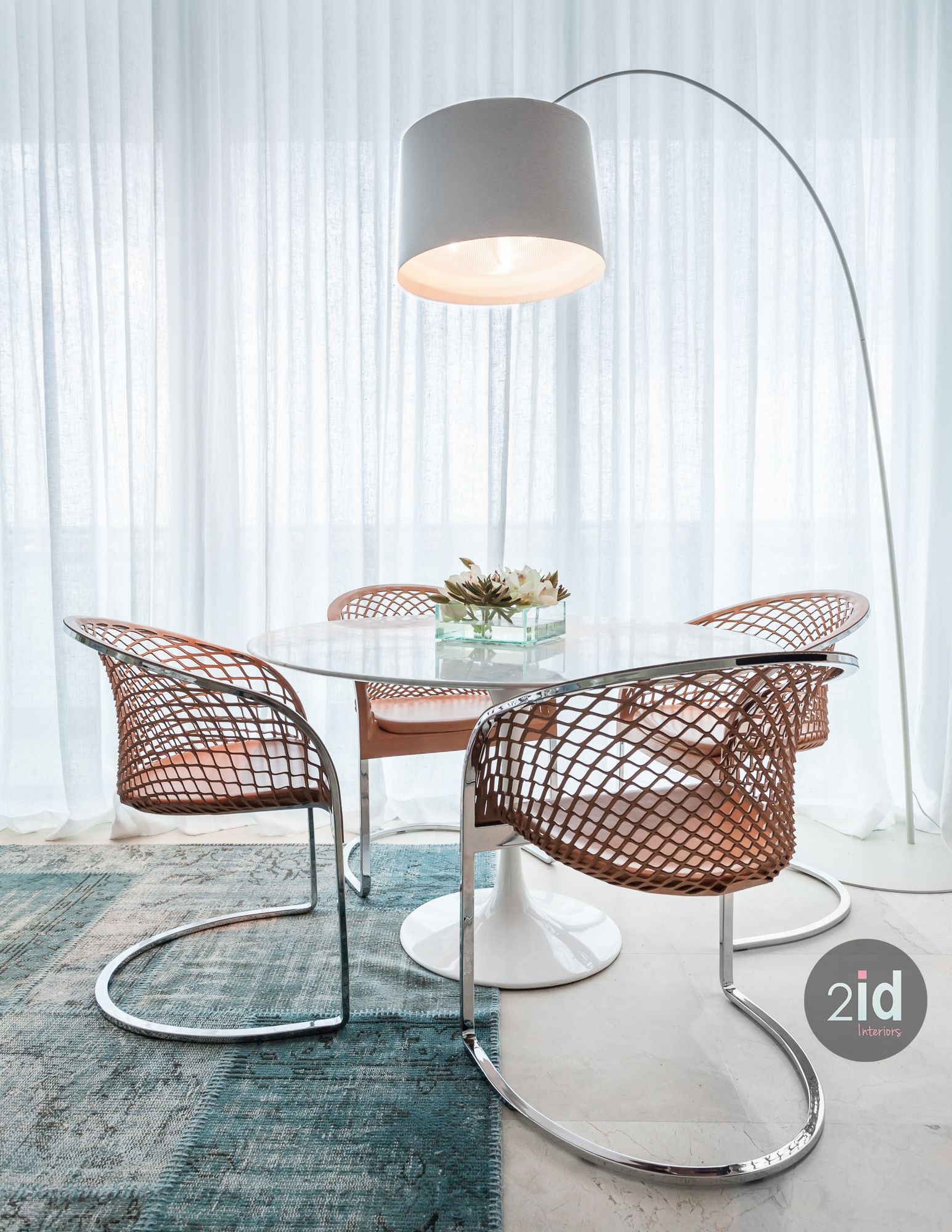 Beautiful Round Dining Table Tulip Marble Cool Leather Dining