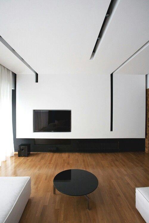 Slotted Minimalist Interior Design False Ceiling Living Room Minimalist Interior