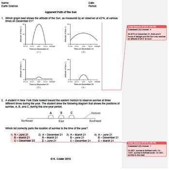 Worksheet - Apparent Path of the Sun *Editable* (w/ ANSWERS ...