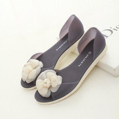 9272eccfd Flat heel open toe women sandals big camellia flower jelly shoes   JellyShoesOutfit
