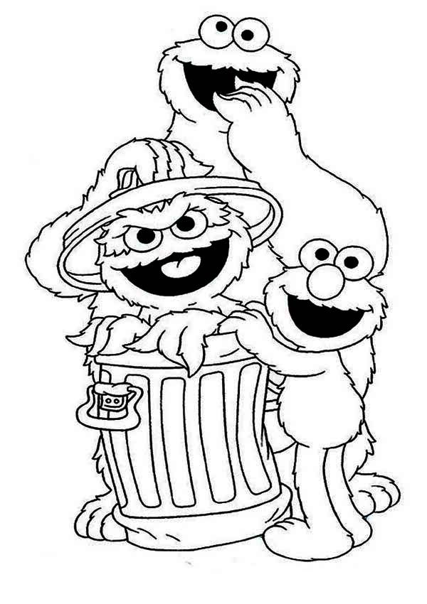sesame street cookie and elmo with oscar in garbage can in sesame street coloring