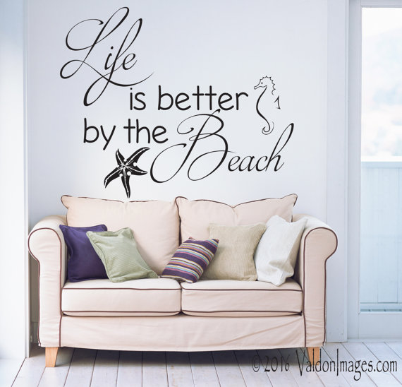 Better By The Beach Quote Beach Decor Wall Decal Beach Wall - Wall decals beach quotes