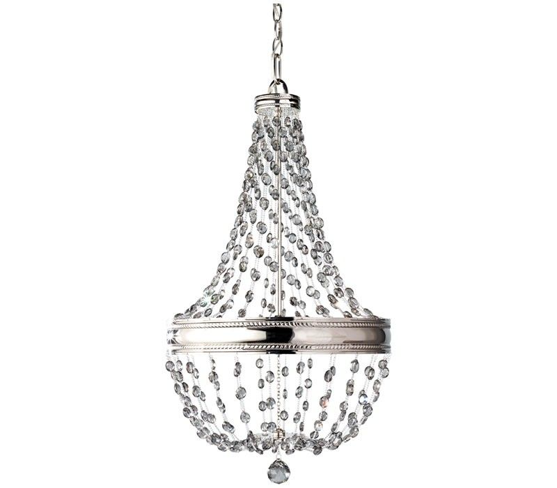 The Feiss Malia six light single tier chandelier in polished nickel provides abundant light to your home, while adding style and interest. Making a declarative and sparkling statement in any room, the Malia lighting collection is a cool, contemporary interpretation of classic crystal light fixtures, updated with clean lines and featuring fashionable smoke gray crystals accented by a Polished Nickel finish.