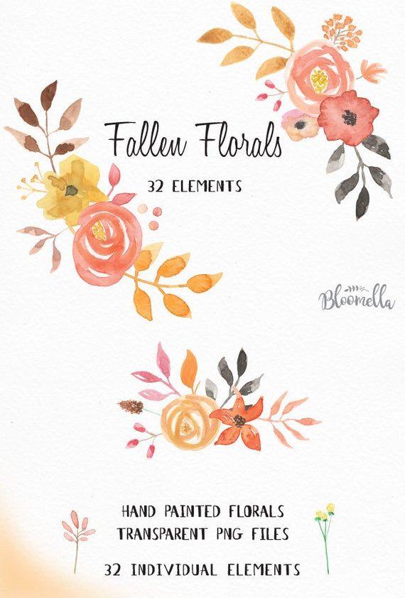 Aquarell Blumen Clipart – gefallene Sammlung – handgemalt INSTANT DOWNLOAD 32 Herbst Elemente & einzelne PNGs – Herbstblumen digital   – Products