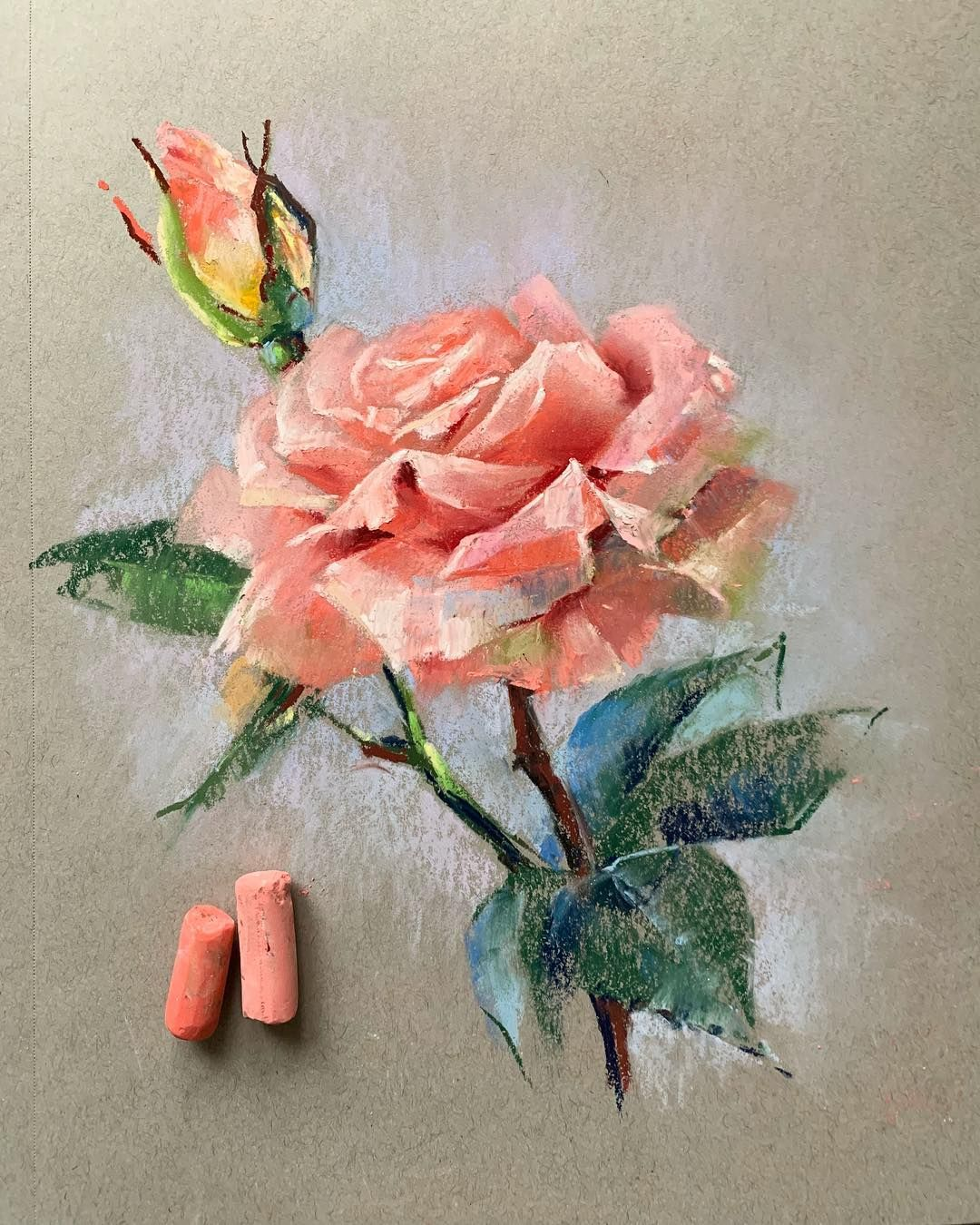 Картинки нарисованных цветов пастелью