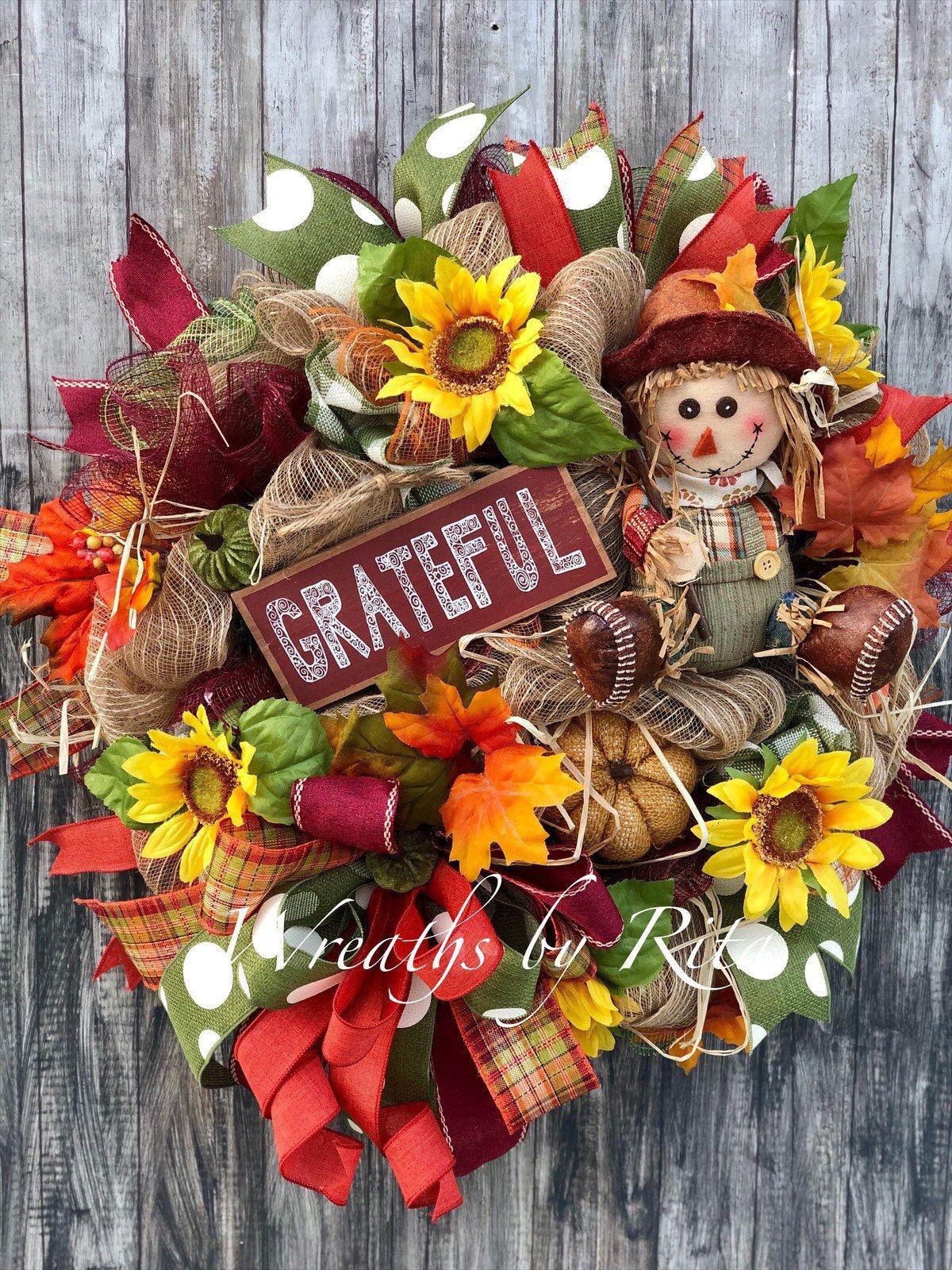 Photo of Thanksgiving wreath; Autumn wreath, scarecrow wreath; Autumn wreath; Case door hanger; Sunflower wreath