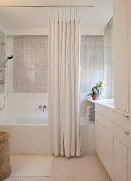 Create A Sleek Look For Your Shower With Ceiling Mounted Curtain Track