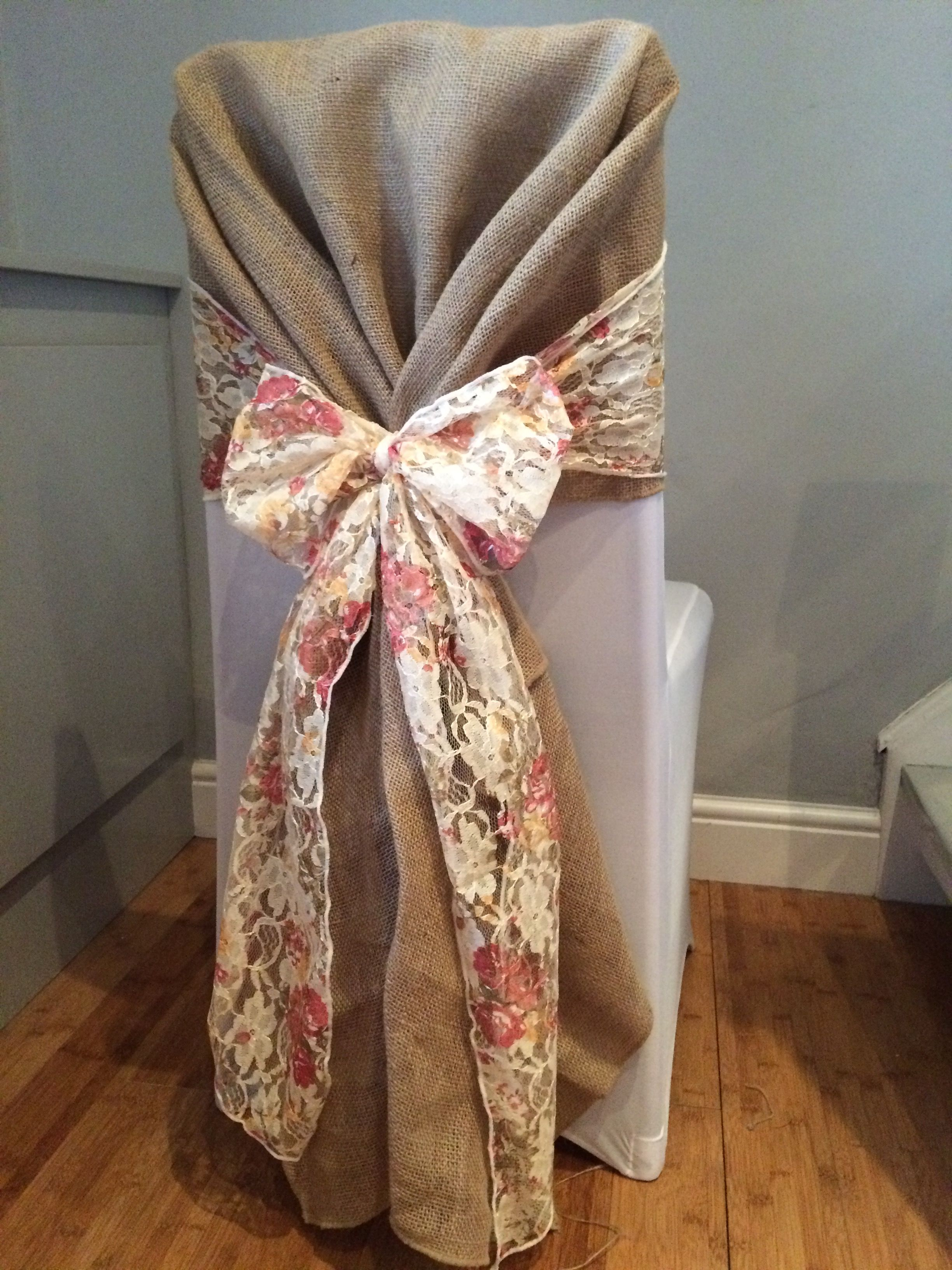 chair covers for hire south wales double seat with hessian hood and vintage floral lace in from www affinityeventdecorators com