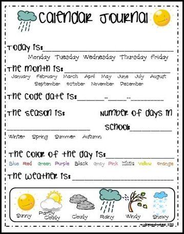 Calender Journal Kindergarten Calendar Calendar Activities Calendar Math Time and calendar worksheets