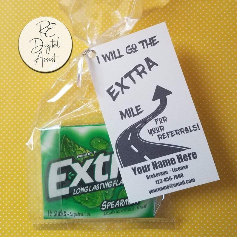 Referrals Extra Mile Printable Tags Labels Real Estate Etsy In 2020 Real Estate Marketing Gifts Business Marketing Gifts Marketing Gift
