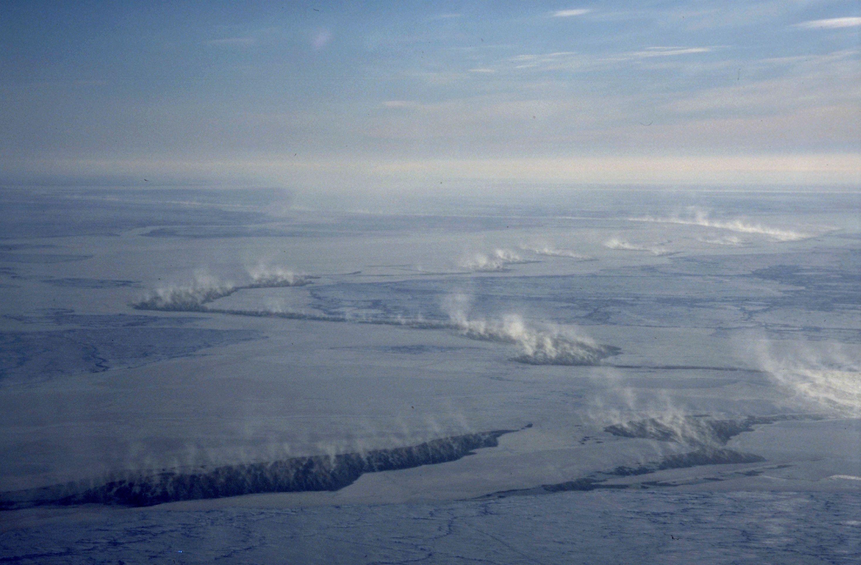 Cracks In Arctic Sea Ice Venting Condensation