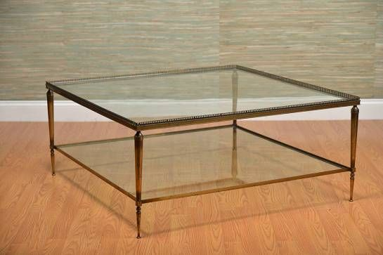 Vintage French Brass Square Coffee Table with Raised Filigree Edge