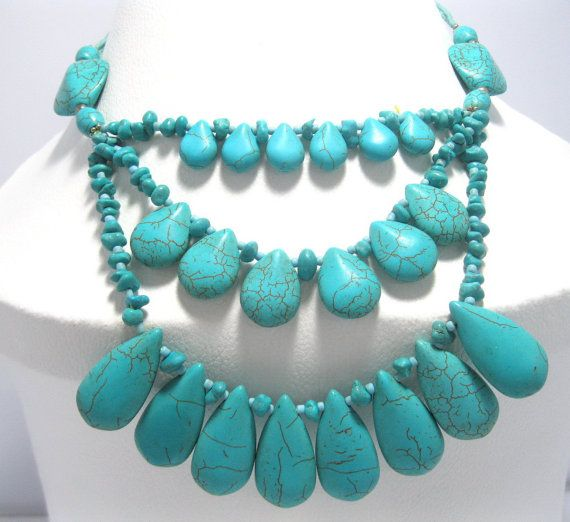 This Chunky Turquoise 3 Layer Necklace is made from real natural high quality Afghan Turquoise. Manufactured in Afghanistan by craftsmen with years old experience, which is transferred from generations to generations in the Afghan Kuchi Tribe.