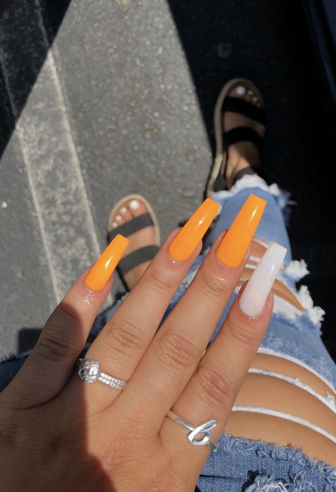 Orange And Soft White Acrylics Taperedsquare Valentinobeautypure Acrylicnails Orange Acrylic Nails Pink Acrylic Nails Long Square Acrylic Nails