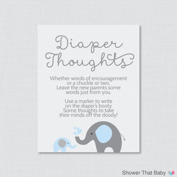 Elephant Baby Shower Diaper Thoughts Game Baby Shower ...