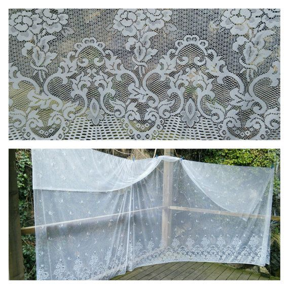 Enormous 16ft X 9ft Piece Floral Lace Fabric Curtaining French