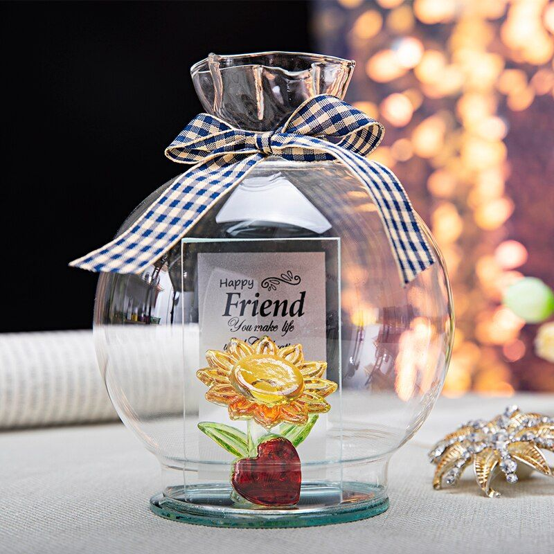 Crystal Heart Sunflower Figurine in Dome Glass Ornament