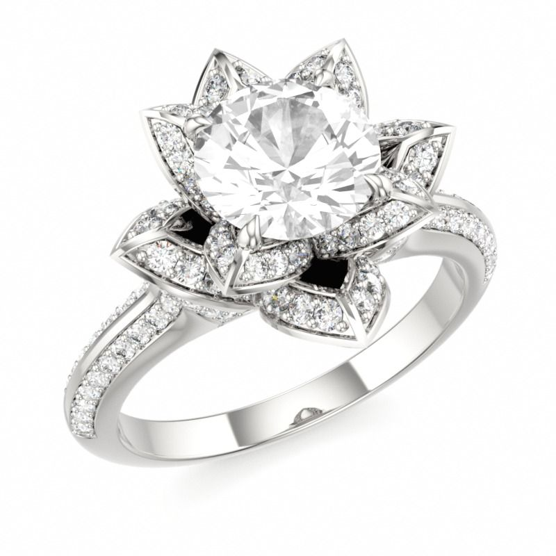 LOTUS BLOSSOM ROYAL | Designer Engagement Ring with White Topaz and Swarovski Brilliance Cubic Zirconia White in 14k White Gold