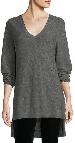 2c1ec92c363 Eileen Fisher Long-Sleeve V-Neck High-Low Wool Top