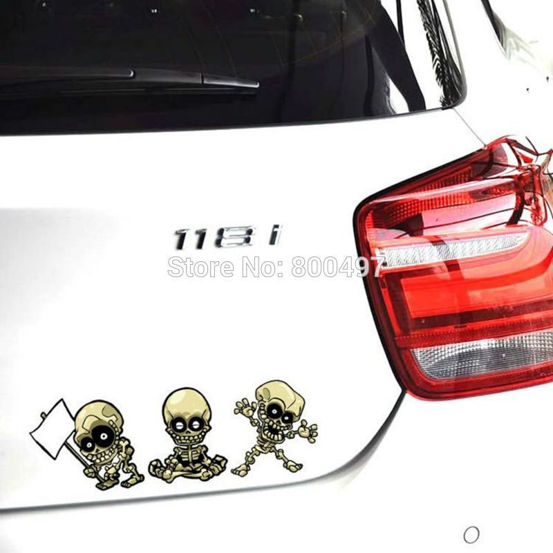 Funny Car Sticker Ghost Rider Skull Expression Combination Car Decal for Toyota Renault Chevrolet Volkswagen Tesla Opel Kia Lada