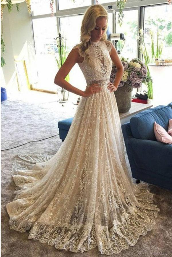 Stunning Appliques High Neck Lace Wedding Dress With Sequins W493 High Neck Lace Wedding Dress High Neck Wedding Dress A Line Wedding Dress