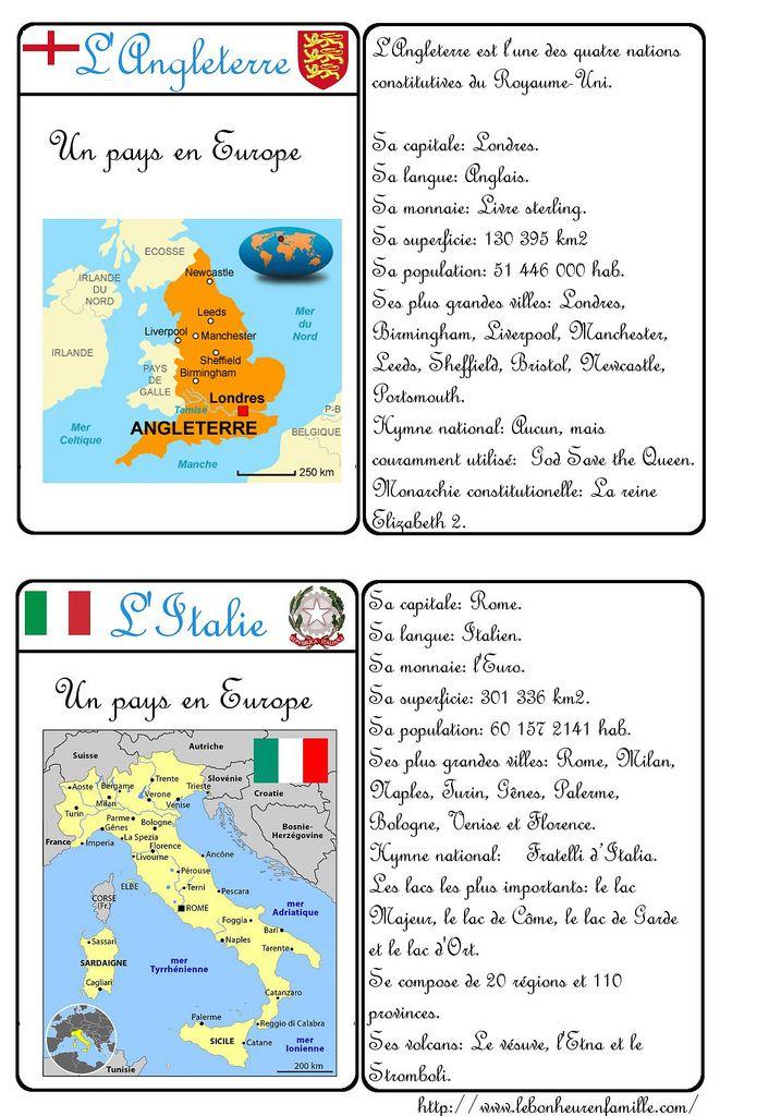 Le Bonheur En Famille Carte D Identite Pays Angleterre Italie