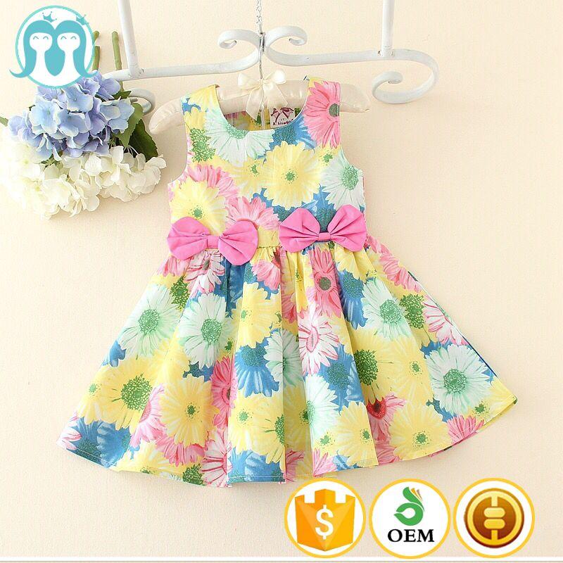 9f26b2a417 Moda al por mayor de ropa de diseño para niños nuevo diseño del bebé del  algodón vestidos con diseños de corea del estampado de flores