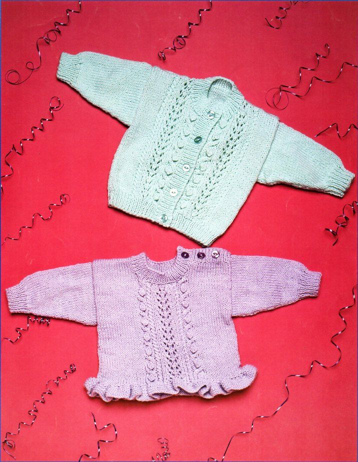 Baby Knitting Pattern Pdf Baby Sweater With Frill Button Shoulder