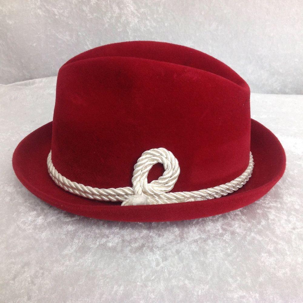 6d64362c ... uk rare vintage red nfl kansas city chiefs byer rolnick mens fedora hat  size 7 byerrolnick