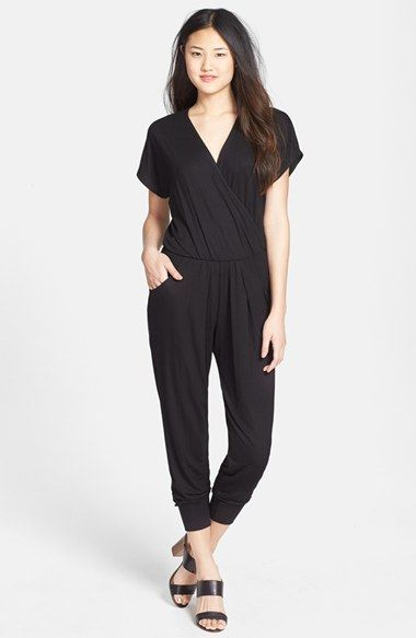 5a06bc9e2e Free shipping and returns on LOVEAPPELLA Short Sleeve Wrap Top Jumpsuit  (Regular   Petite) at Nordstrom.com. Cut from slinky jersey