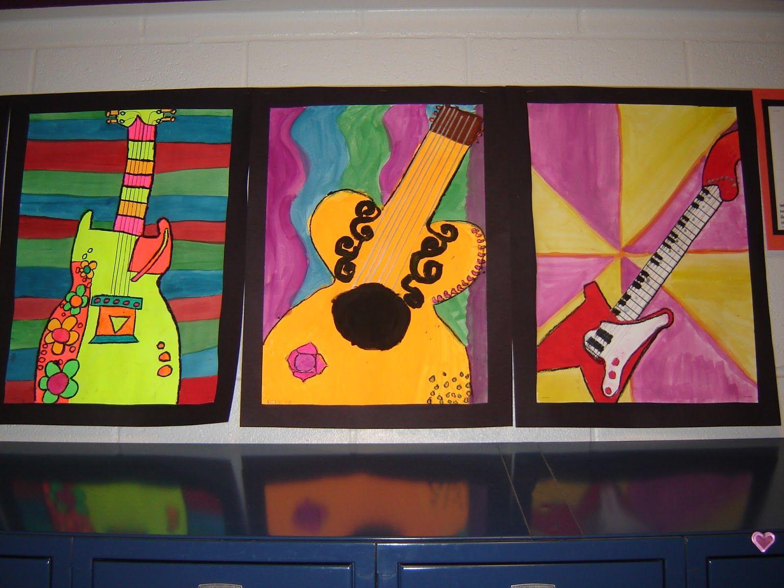 Guitars lines & colors show guitar sounds