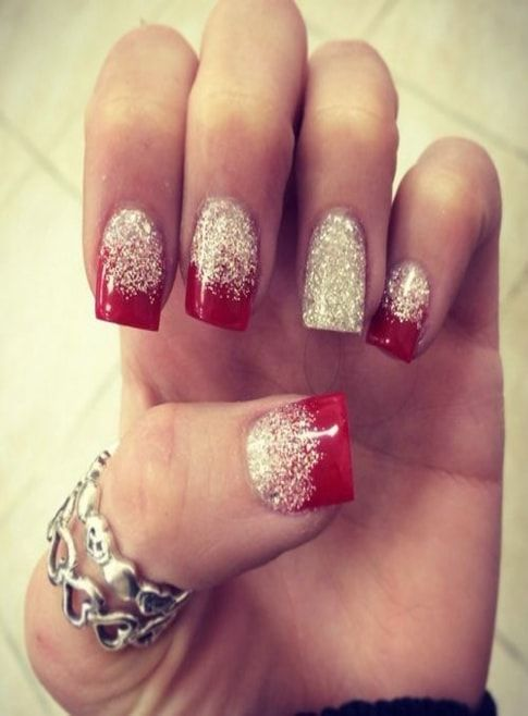 Red Ombre Nails Christmas.Red Nails With Silky Golden Color Ladies Nails Colors