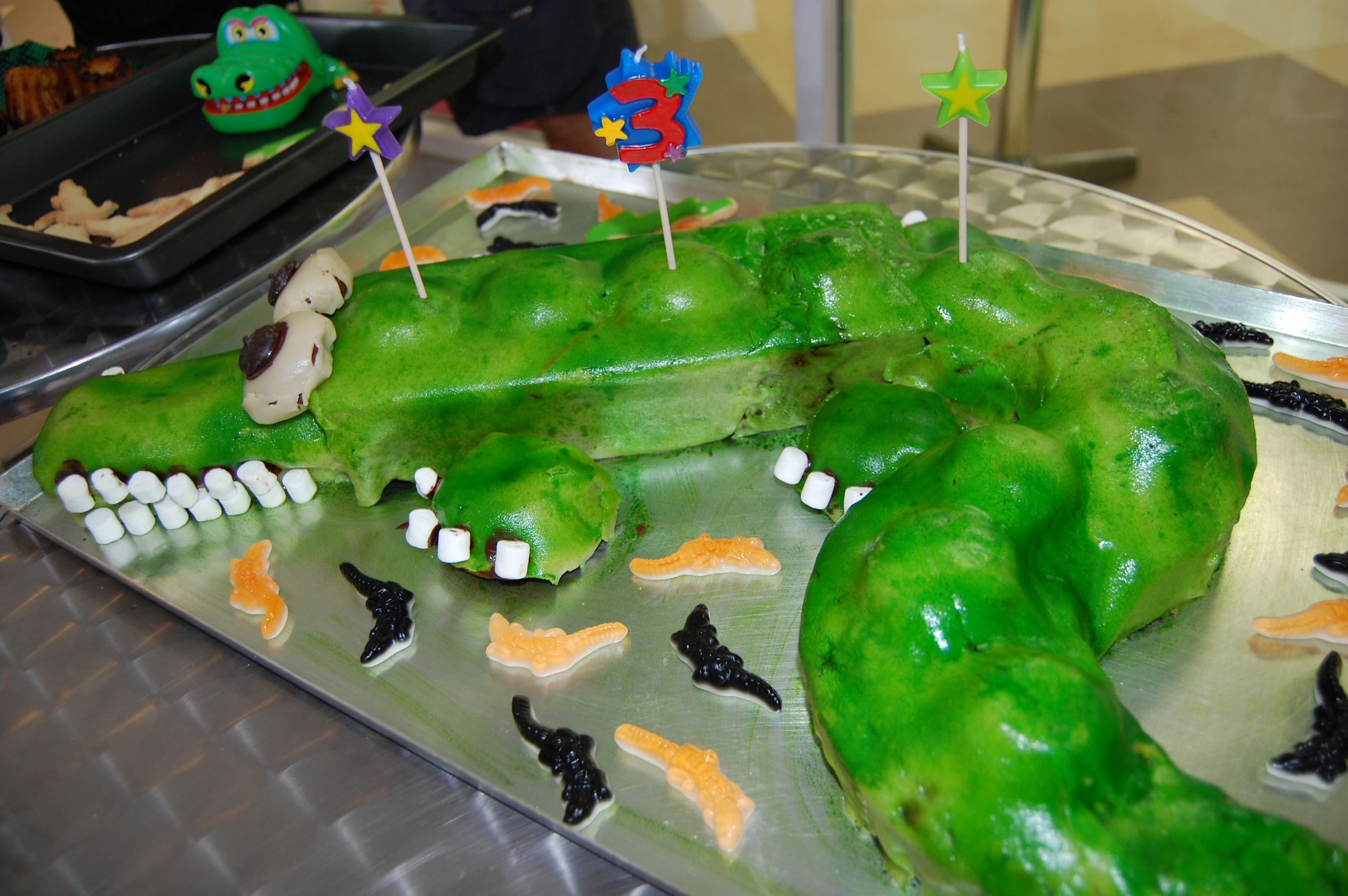The Crococake, made of Chocolate moist cake + marzipan and sprayed ...