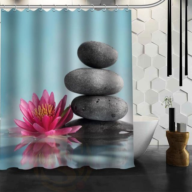 Custom Zen Stone Shower Curtain Polyester Fabric Customized More