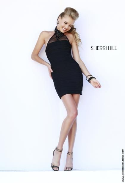 Sherri Hill Short Black Halter Top Dress 32162 After Prom Dresses