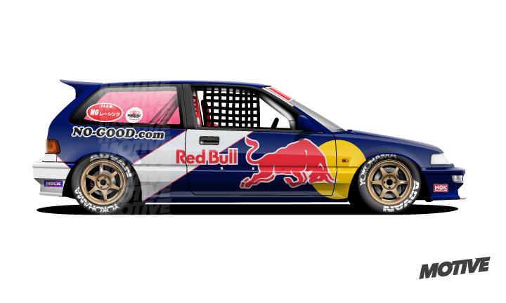Redbull Kanjo Honda Civic Ef By Nogood Racing Vector Illustration Mobil Kendaraan