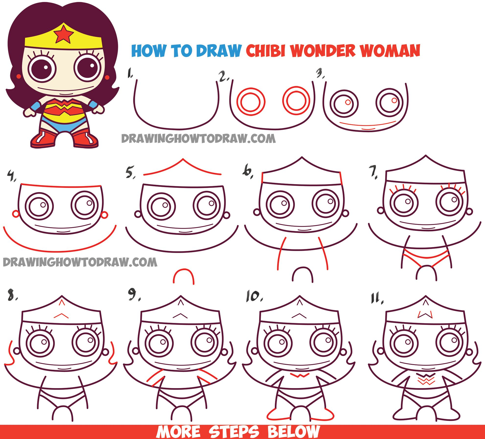 How to Draw Cute Chibi Wonder Woman from DC Comics in Easy ...