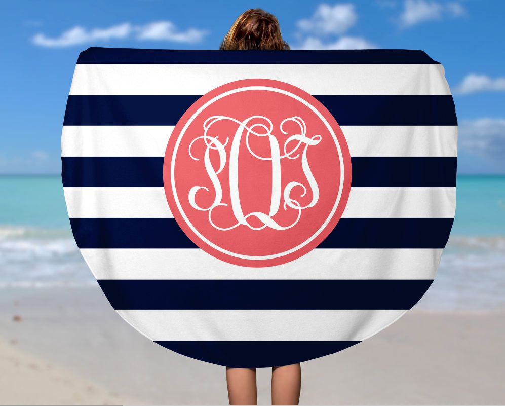 7f1d27d66d6 Personalized Round Beach Towel - Design your Own Beach Towel - Custom Name  Camp Towel -