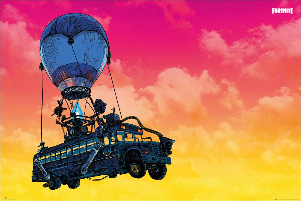 Fortnite Battle Bus Maxi Poster Poster Prints Landscape Poster Poster Wall
