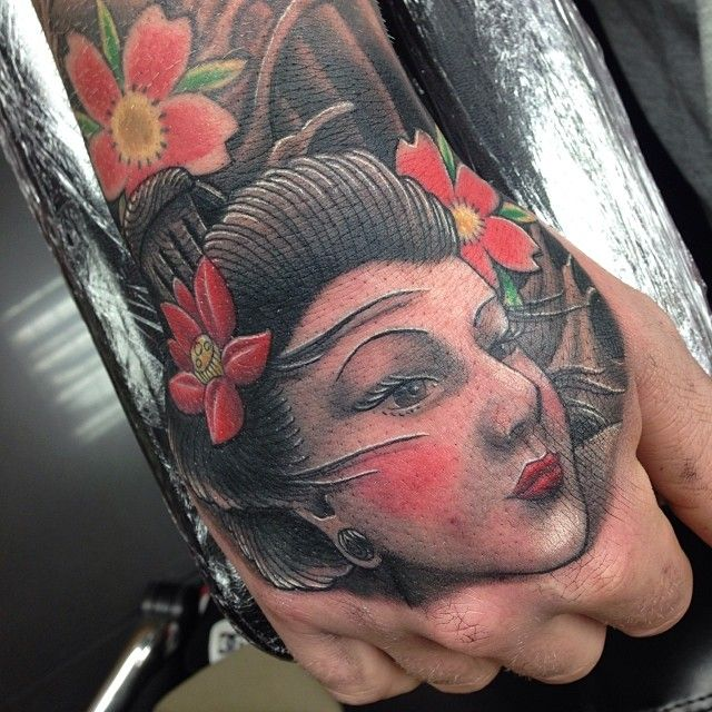 Craig Holmes On Instagram Geisha On The Hand Finishing Lee S Japanese Wave Sleeve With Cherry Blossoms By Craig Holmes Iron Horse Tattoo Studio Swansea Wa