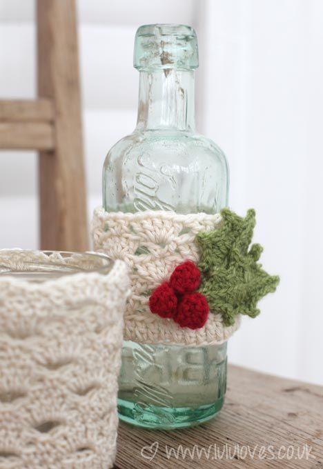 Crochet Jar Cozy - free pattern   cola pra croché   Pinterest ...