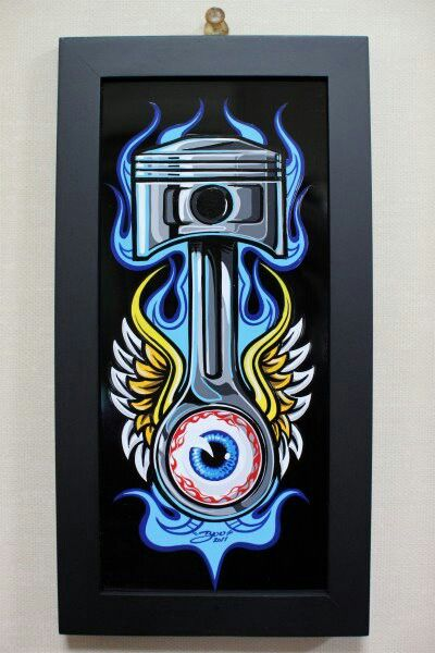 Pinstiped Piston With Blue Flames Tatto Pinterest