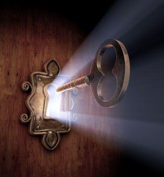 A close-up of a key moving towards the key hole. | Doors, Key, Prophetic art