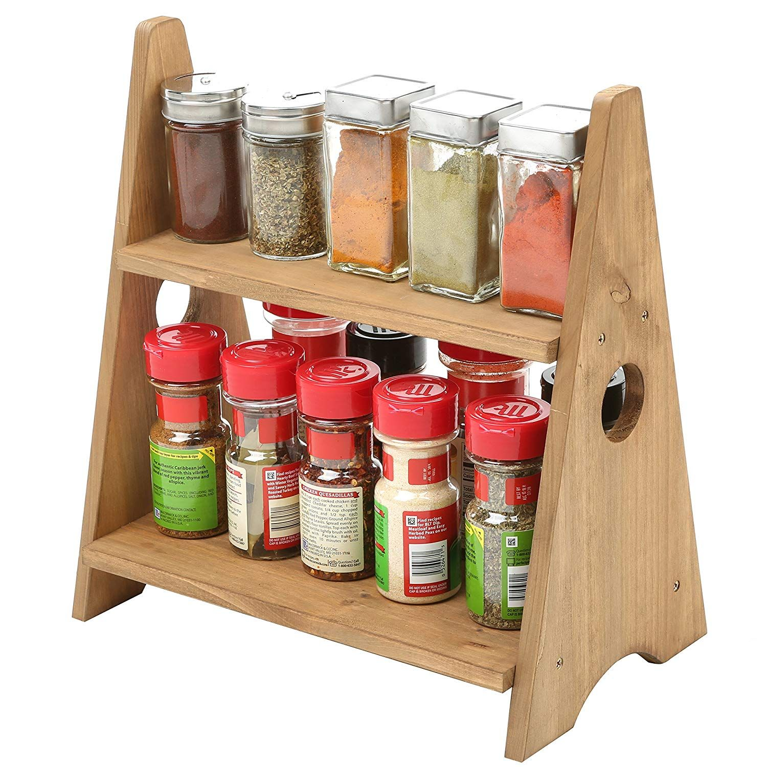Amazon Com 2 Tier Decorative Multipurpose Desktop Wood Display Shelves Countertop Spice Rack Home Kitch Countertop Spice Rack Wooden Spice Rack Spice Rack