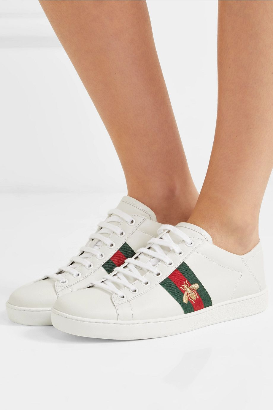 64c07b1e6 Gucci | Ace embroidered leather collapsible-heel sneakers | NET-A-PORTER.COM