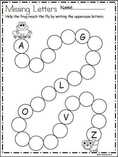 write the missing letters and help frog kindergarten spring kindergarten worksheets nursery. Black Bedroom Furniture Sets. Home Design Ideas