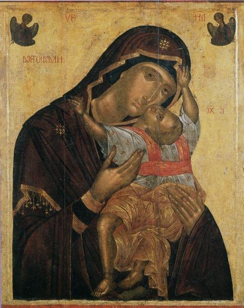 ICON OF THE VIRGIN KARDIOTISSA - ANGELOS AKOTANTOS, FIRST HALF OF THE 15TH CENTURY.