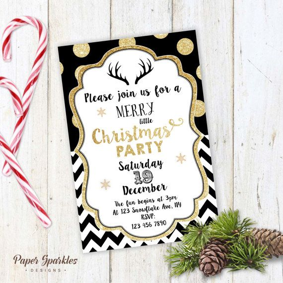 Christmas Party Invitation Gold Christmas Invite Black Gold
