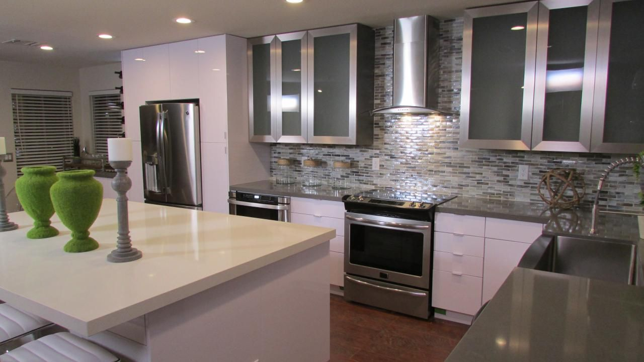 Muted Metallic Makeover Gray And White Kitchen Kitchen Crashers White Kitchen Pictures